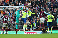 Aston Villa v Derby County - Sky Bet Championship<br /> BIRMINGHAM, ENGLAND - APRIL 28 :  derby County's goalkeeper, Scott Carson tries to punch the ball clear