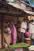 Market during the monsoon rains, Goa, India