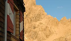 THEMENBILD - Sonnenuntergang am Laserz, Fesnster Karlsbaderhuette, im Hintergrund die Große Sandspitze der Lienzer Dolomiten, Lienzer Dolomiten, AUT, EXPA Pictures © 2011, PhotoCredit: EXPA/ M. Gruber
