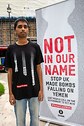 Oxfam Campaigner Adhiyan Jeevathol, London Students for Yemen, delivering the message 'Stop British bombs falling on Yemen' to the Foreign Secretary, Dominic Raab on the 8th of September 2020. On the 7 July 2020 the UK Government through a written statement to Parliament reversed its decision to halt arms licensing to Saudi Arabia and announced that it will not appeal to the Supreme Court.(Photo by Andy Aitchison / Oxfam GB)