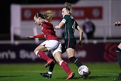 Ebony Salmon of Bristol City Women is challenged by Josie Green of Tottenham Hotspur Women - Mandatory by-line: Ryan Hiscott/JMP - 14/11/2020 - FOOTBALL - Twerton Park - Bath, England - Bristol City Women v Tottenham Hotspur Women - Barclays FA Women's Super League