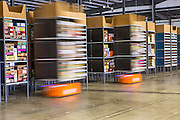 Kiva Robots move merchandise at the warehouse at Acumen Brands in Fayetteville, Ark.
