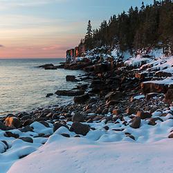 Winter's dawn in Maine's Acadia National Park. Boulder Beach.
