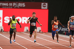 February 7, 2018 - Paris, Ile-de-France, France - From left to right : Sean Safo Antwi of Gana, Christophe Lemaitre of France, Gue-arthur Cisse of Ivory Coast compete in 60m during the Athletics Indoor Meeting of Paris 2018, at AccorHotels Arena (Bercy) in Paris, France on February 7, 2018. (Credit Image: © Michel Stoupak/NurPhoto via ZUMA Press)