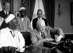 Oct. 12, 1960 - Washington D.C., USA - President DWIGHT D. EISENHOWER received in the White House in Washington the Prime Minister of the Federation of Nigeria, Sir ABUBAKAR TAFAWA BALEWA. Nigeria was admitted to the United Nations as 99th member.  (Credit Image: © Keystone Press Agency/Keystone USA via ZUMAPRESS.com)