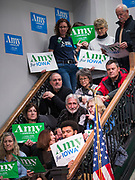 26 JANUARY 2020 - DES MOINES, IOWA: People wait to hear Sen Amy Klobuchar at a campaign event in Des Moines Sunday evening. Sen. Klobuchar campaigned to support her candidacy for the US Presidency Sunday in central Iowa during the one day break from the impeachment trial of President Trump. She is trying to capitalize on her recent uptick in national polls. Iowa holds the first selection event of the presidential election cycle. The Iowa Caucuses are Feb. 3, 2020.       PHOTO BY JACK KURTZ