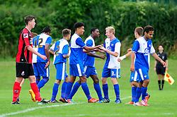 Bristol Rovers' U18s celebrate scoring   - Photo mandatory by-line: Dougie Allward/JMP - Tel: Mobile: 07966 386802 17/08/2013 - SPORT - FOOTBALL - Bristol Rovers Training Ground - Friends Life Sports Ground - Bristol - Academy - Under 18s - Youth - Bristol Rovers U18s V Bournemouth U18s