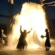 Nederland-Terschelling-13-06-2001.<br />Locatie Paal 8 try out openingsact Oerol festival<br />van de The Lunatics.<br />Met Rutger Bergboer, Koos Hogeweg,Ton van Wolde.<br />Foto: Sake Elzinga<br />digitaal beeld