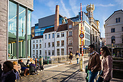 Streetscene at the Zuivelbrug. People enjoy the city in autumn, ghent, Belgium, 26.10.2015