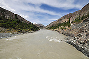 A view of the Indus River at Leh, Ladakh, Jammu and Kashmir. India.