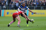 Bath wing Semesa Rokoduguni (14) kicks the ball forward during the Aviva Premiership match between Bath Rugby and Gloucester Rugby at the Recreation Ground, Bath, United Kingdom on 29 October 2017. Photo by Gary Learmonth.
