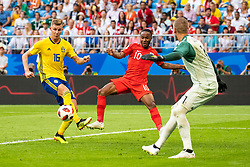 July 7, 2018 - Samara, Russia - 180707 Raheem Sterling of England with an attempt against Emil Krafth and goalkeeper Robin Olsen of Sweden during the FIFA World Cup quarter final match between Sweden and England on July 7, 2018 in Samara..Photo: Petter Arvidson / BILDBYRÃ…N / kod PA / 92083 (Credit Image: © Petter Arvidson/Bildbyran via ZUMA Press)