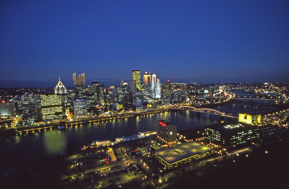 Pittsburgh, PA, Skyline, Monongahela River, from Mt. Washington