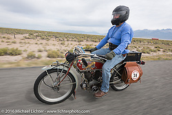 Kelly Modlin of Kansas riding his 1914 Excelsior during the Motorcycle Cannonball Race of the Century. Stage-10 ride from Pueblo, CO to Durango, CO. USA. Tuesday September 20, 2016. Photography ©2016 Michael Lichter.