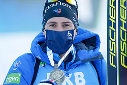Third placed Quentin Fillon Maillet of France celebrates at medal ceremony during the IBU World Championships Biathlon 15 km Mass start Men competition on February 21, 2021 in Pokljuka, Slovenia. Photo by Vid Ponikvar / Sportida