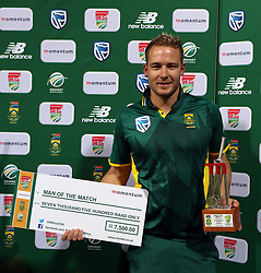 Man of the match Andile Phehlukwayo of South Africa with David Miller of South Africa during the 3rd ODI match between South Africa and Australia held at Kingsmead Stadium in Durban, Kwazulu Natal, South Africa on the 5th October  2016<br /> <br /> Photo by: Steve Haag/ RealTime Images