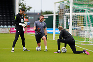 Luke McGee (1) of Forest Green Rovers and Lewis Thomas (24) of Forest Green Rovers warming up ahead of the Pre-Season Friendly match between Yeovil Town and Forest Green Rovers at Huish Park, Yeovil, England on 31 July 2021.