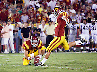 1 September 2007:  PK David Buehler makes a kick during USC Trojans college football team defeated the Idaho Vandals 38-10 at the Los Angeles Memorial Coliseum in CA.  NCAA Pac-10 #1 ranked team first game of the season.