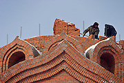 Khabarovsk, Russia, 01/03/2004.&#xD;Constructing a new Russian Orthodox church in the city centre.&#xD;<br />