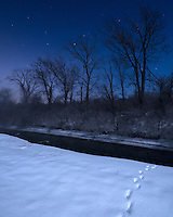 I'm not sure what animal made these tracks in the snow, but I think it was a coyote. The bright moonlight was illuminating the snow covered landscape on this clear night. Despite the subzero temperatures, this creek was not frozen.<br />