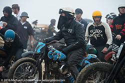 Josh Kohn in the staging area on his 1937 Harley-Davidson 45 ci Flathead at  TROG West - The Race of Gentlemen. Pismo Beach, CA, USA. Saturday October 15, 2016. Photography ©2016 Michael Lichter.
