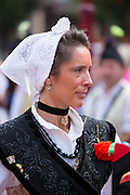 Spanish woman at traditional fiesta at Villaviciosa in Asturias, Northern Spain