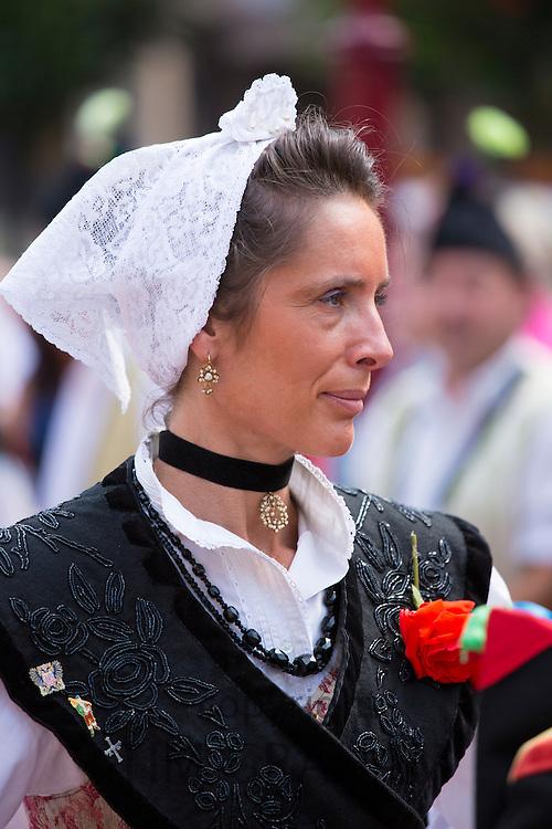 Spanish woman at traditional fiesta at Villaviciosa in Asturias, Northern Spain
