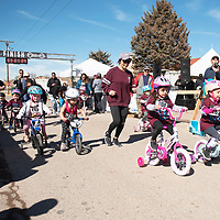 The 3-4 year old girls age group begin the Quad Kids Saturday afternoon in Grants. Kids aged 3-12 years old can compete in the Quad Kids, an obstacle course in the downtown area of Grants near the finish line of the Mt. Taylor Quadrathlon.