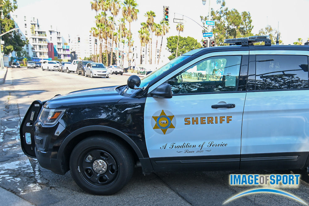 Los Angeles County Sheriff deputies shutdown the corners of Aliso St and Broadway outside of the Hall of Justice, Wednesday, Sept. 23, 2020, in Los Angeles. (Dylan Stewart/Image of Sport)