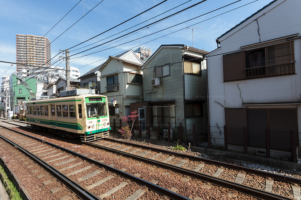 A streetcar or tram on the Toden Arakawa Line near Sugamo in Tokyo, Japan Monday February 16th 2015. The line is nick-named the Chin-chin Densha and is the last remaining tram line in Japan's capital city.