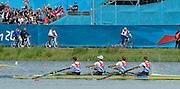 Eton Dorney, Windsor, Great Britain,..2012 London Olympic Regatta, Dorney Lake. Eton Rowing Centre, Berkshire[ Rowing]...Description;   Men's Lightweight Fours, .GBR.LM4- Peter CHAMBERS (b) , Rob WILLIAMS (2) , Richard CHAMBERS (3) , Chris BARTLEY (s)..Dorney Lake. 12:16:09  Thursday  02/08/2012.  [Mandatory Credit: Peter Spurrier/Intersport Images]...Venue, Rowing, 2012 London Olympic Regatta...