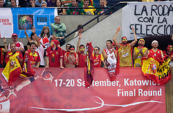 Fans of Spain celebrates when Team of Spain became the European Champion 2009 at the EuroBasket 2009 after they won at Final match between Spain and Serbia, on September 20, 2009, in Arena Spodek, Katowice, Poland.  Spain won, Serbia placed second, Greece third and Slovenia fourth. (Photo by Vid Ponikvar / Sportida)