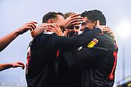Aidan McGeady of Sunderland (19) celebrates with Reece James of Sunderland (16) after Josh Maja of Sunderland (20) scores a goal to make the score 0-1 during the EFL Sky Bet League 1 match between Scunthorpe United and Sunderland at Glanford Park, Scunthorpe, England on 19 January 2019.