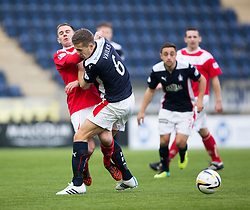 Brechin City's Alan Trouten and Falkirk's Will Vaulks. <br /> Falkirk 2 v 1 Brechin City, Scottish Cup fifth round game played today at The Falkirk Stadium.
