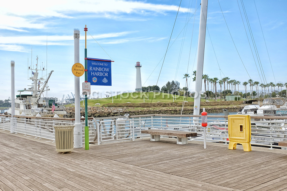 Welcoming Sign for Visitors to Rainbow Harbor at Pine Avenue Pier Long Beach California
