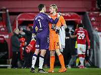 Middlesbrough's Marcus Bettinelli embraces Huddersfield Town's Ryan Schofield after the match<br /> <br /> Photographer Alex Dodd/CameraSport<br /> <br /> The EFL Sky Bet Championship - Middlesbrough v Huddersfield Town - Tuesday 16th February 2021 - Riverside Stadium - Middlesbrough<br /> <br /> World Copyright © 2021 CameraSport. All rights reserved. 43 Linden Ave. Countesthorpe. Leicester. England. LE8 5PG - Tel: +44 (0) 116 277 4147 - admin@camerasport.com - www.camerasport.com