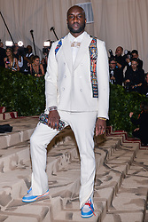 Virgil Abloh of Off-White walking the red carpet at The Metropolitan Museum of Art Costume Institute Benefit celebrating the opening of Heavenly Bodies : Fashion and the Catholic Imagination held at The Metropolitan Museum of Art  in New York, NY, on May 7, 2018. (Photo by Anthony Behar/Sipa USA)