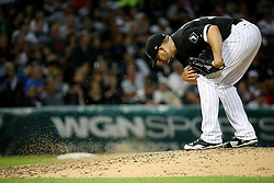 July 14, 2017 - Chicago, IL, USA - Chicago White Sox starting pitcher James Shields (33) swats the mound dirt after giving up a run off a wild pitch in the fifth inning against the Seattle Mariners at Guaranteed Rate Field Friday, July 14, 2017, in Chicago. The Mariners won, 4-2. (Credit Image: © John J. Kim/TNS via ZUMA Wire)