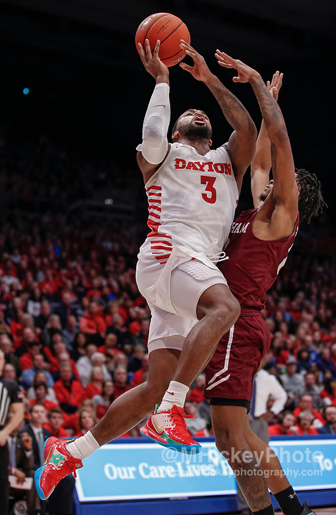 DAYTON, OH - FEBRUARY 01: Trey Landers #3 of the Dayton Flyers shoots the ball against Jalen Cobb #2 of the Fordham Rams during the second half at UD Arena on February 1, 2020 in Dayton, Ohio. (Photo by Michael Hickey/Getty Images) *** Local Caption *** Trey Landers; Jalen Cobb