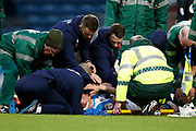 Corry Evans of Blackburn Rovers receives treatment for a serious injury during the EFL Sky Bet Championship match between Blackburn Rovers and Preston North End at Ewood Park, Blackburn, England on 11 January 2020.