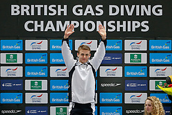 Winner Jack Haslam of City of Sheffield Diving Club celebrates on the podium of the Mens 1m Synchronised Springboard Final - Photo mandatory by-line: Rogan Thomson/JMP - 07966 386802 - 20/02/2015 - SPORT - DIVING - Plymouth Life Centre, England - Day 1 - British Gas Diving Championships 2015.
