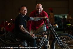 Cry Baby Cycles' Josh Allison with his hot rod inspired custom 1975 Harley-Davidson Shovelhead and event organizer Alan Stulberg at the Handbuilt Show. Austin, TX. USA. Sunday April 22, 2018. Photography ©2018 Michael Lichter.