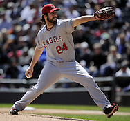 CHICAGO - APRIL 17:  Dan Haren #24 of the Los Angeles Angels pitches against the Chicago White Sox on April 17, 2011 at U.S. Cellular Field in Chicago, Illinois.  The Angels defeated the White Sox 4-2.  (Photo by Ron Vesely)  Subject:  Dan Haren