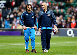 Italy head coach Conor O'Shea with one of his coaching staff - Mandatory by-line: Robbie Stephenson/JMP - 26/02/2017 - RUGBY - Twickenham Stadium - London, England - England v Italy - RBS 6 Nations round three