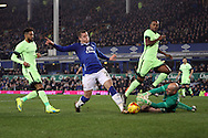 Manchester City Goalkeeper Wilfredo Caballero saves from Ross Barkley of Everton. Capital one cup semi final 1st leg match, Everton v Manchester city at Goodison Park in Liverpool on Wednesday 6th January 2016.<br /> pic by Chris Stading, Andrew Orchard sports photography.