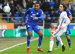 Loic Damour of Cardiff City under pressure from Jota of Birmingham City - Mandatory by-line: Nizaam Jones/JMP - 10/03/2018 -  FOOTBALL -  Cardiff City Stadium- Cardiff, Wales -  Cardiff City v Birmingham City - Sky Bet Championship