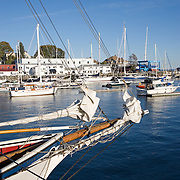 Boats in the harbor on a calm summer afternoon. Camden, Maine