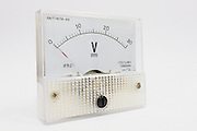 analogue voltmeter with needle for voltage measurement in  electronic circuits <br /> <br /> Editions:- Open Edition Print / Stock Image