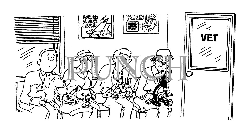 (A vet's office with pet owners waiting to see the vet. One man is holding a microscope with something under it)