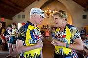 Fort Worth's mayor Betsy Price speaks to the riders after the first day of the 2014 Tour de Fort Worth, an annual event hosted by Mayor Price to promote cycling within the city while also giving her a chance to connect with her constituents on July 5, 2014 in Fort Worth, Texas. (Cooper Neill for The New York Times)
